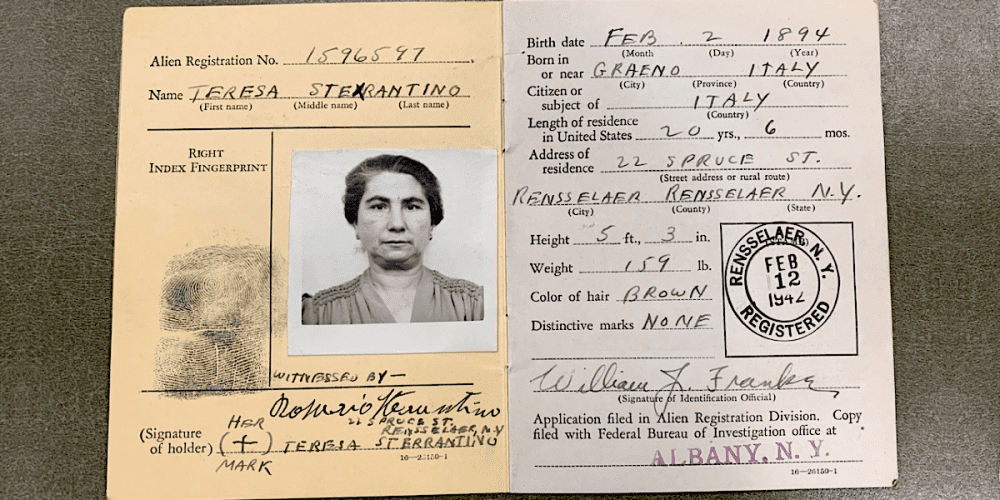 Alien Registration Identification card for Teresa Sterrantino