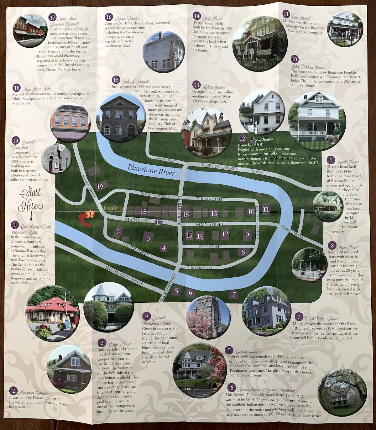 Map of Bramwell Millionaire Houses Walking Tour