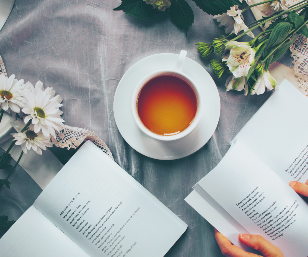 books and tea and flowers